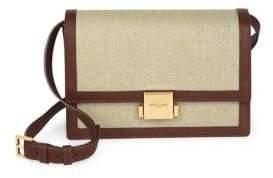 Saint Laurent Medium Bellechase Tan Leather Linen Flap Bag