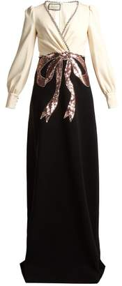 Gucci Crystal And Sequin Embellished Crepe Gown - Womens - Black White