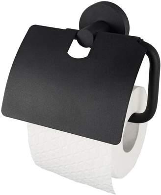 Aqualux Haceka Kosmos Toilet Roll Holder with Lid - Black