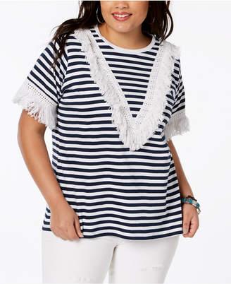 Say What Trendy Plus Size Cotton Fringe-Trim T-Shirt