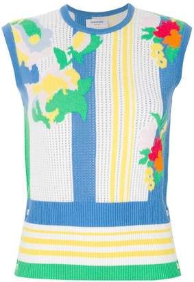 Thom Browne cashmere floral intasia top