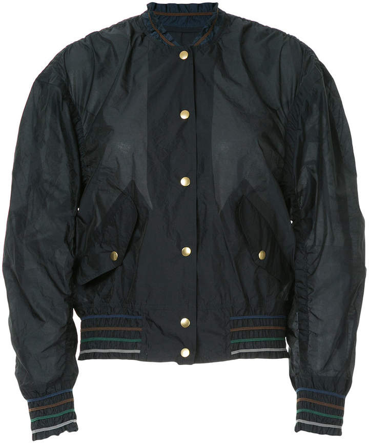 buttoned bomber jacket