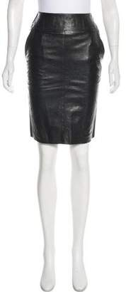 Paule Ka Leather Knee-Length Skirt