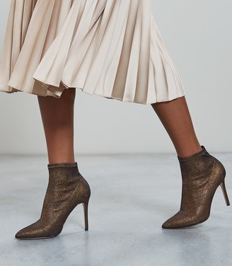 Reiss Lupita - Metallic Point Toe Heeled Ankle Boots in Bronze Metallic