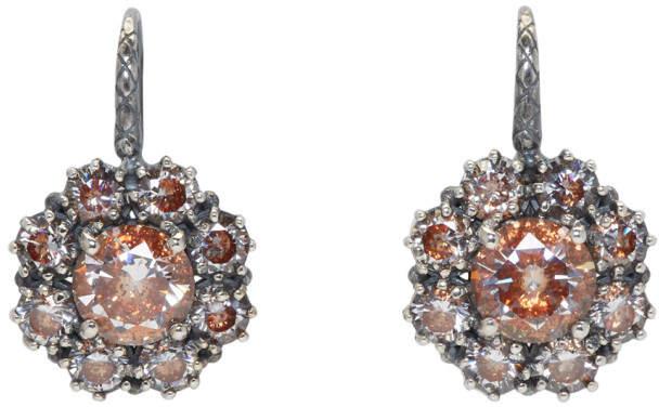 Silver Flowers Zircon Earrings