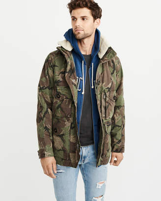 Abercrombie & Fitch Removable Sherpa Camo Combat Jacket