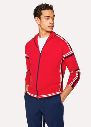 Paul Smith Men's Red Cotton Funnel-Neck Zip-Front Cardigan
