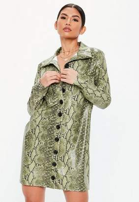 Missguided Lime Faux Leather Snake Oversized Shirt Dress