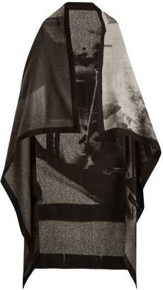 MARY MCCARTNEY Listen-print wool and silk-blend blanket scarf