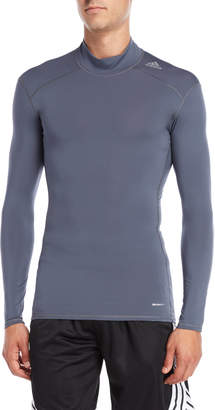 adidas Grey Techfit Mock Neck Base Layer Tee