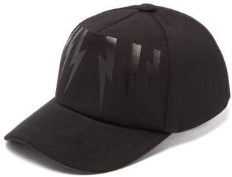 Neil Barrett Bonded Lightning Bolt Cotton Twill Cap - Mens - Black