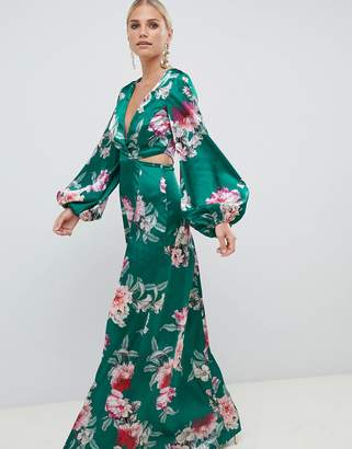Asos Design DESIGN long sleeve floral print cut out wrap maxi dress