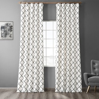 Eff EFF 1-Panel Pavillion Flocked Faux-Silk Window Panel