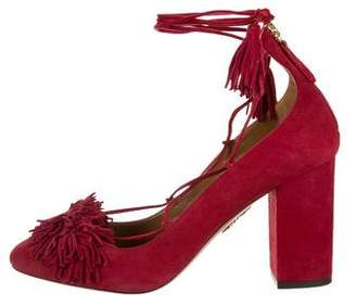 Aquazzura Suede Wrap-Around Pumps