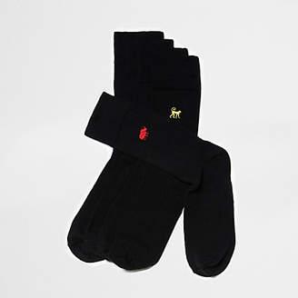 River Island Black animal embroidered socks multipack