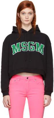 MSGM Black Cropped College Logo Hoodie