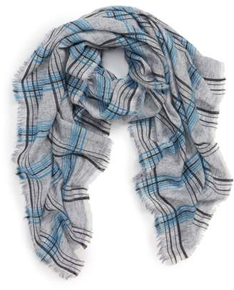 Sole Society Plaid Wool Blend Scarf