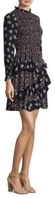 Rebecca Taylor Long-Sleeve Mixed Print Silk Dress