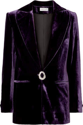 Swarovski Raquel Diniz - Eunice Crystal-embellished Silk-velvet Blazer - Purple