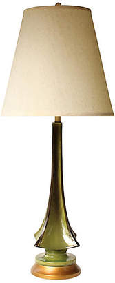 One Kings Lane Vintage Evergreen Drip Glaze Table Lamp