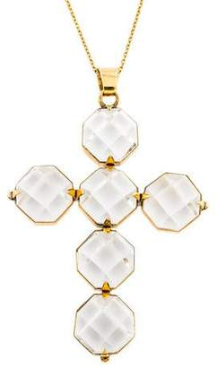 Renee Lewis 18K Rock Crystal Quartz Cross Pendant Necklace
