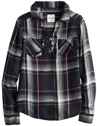 Mudd Girls 7-16 & Plus Size Lace-Up Plaid Popover Top