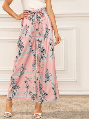 Shein Wide Leg Scarf Print Pants With Belt