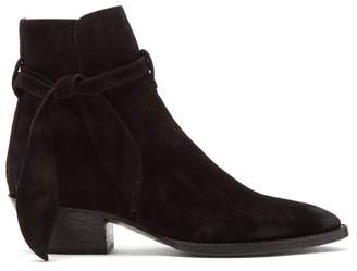 Saint Laurent West Tie Side Suede Ankle Boots - Womens - Black