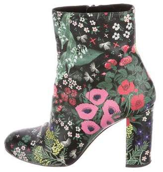 Valentino Floral Print Ankle Boots