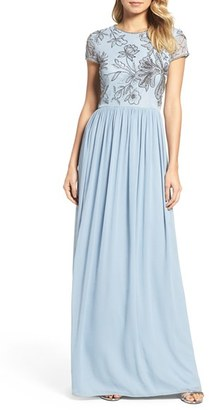 Women's Adrianna Papell Cap Sleeve Embroidered Bodice Gown $219 thestylecure.com