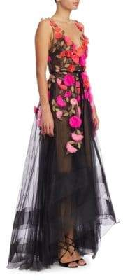 Marchesa Floral V-Neck Lace Gown