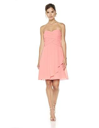Cambridge Silversmiths The Collection Women's Sweetheart Neckline and Side Draping Chiffon Short Dress 6 Reef