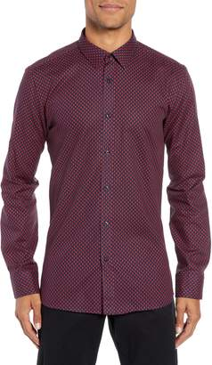HUGO Elisha Extra Slim Fit Microprint Sport Shirt
