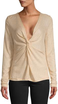 Lord & Taylor Gold Long Sleeve Twist Front Top