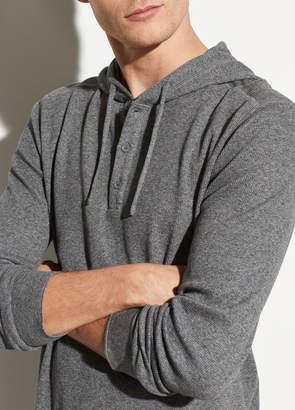 Waffle Hooded Henley Pullover