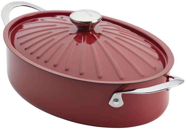 Rachael Ray Cucina Oven-To-Table Hard Enamel Nonstick 5 qt. Covered Oval Sauteuse in Cranberry Red