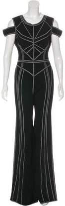 Herve Leger Metallic-Accented Bandage Jumpsuit w/ Tags