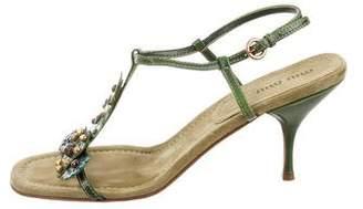 Miu Miu Floral-Embellished Sandals