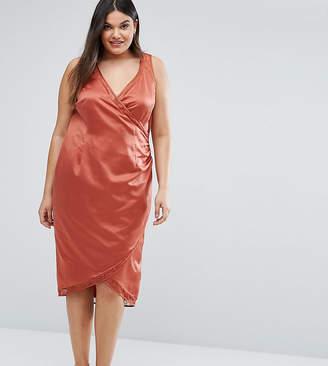 Asos Lace Insert Wrap Satin Dress