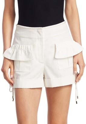 Carven High-Rise Poplin Ruffle Shorts