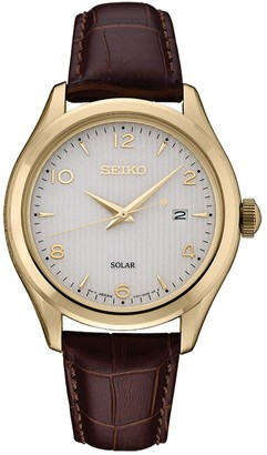 Seiko Men's Leather Solar Dress Watch - SNE492