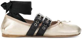 Miu Miu ankle ribbon ballerinas