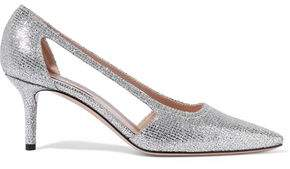 Casadei Cutout Glittered Woven Pumps