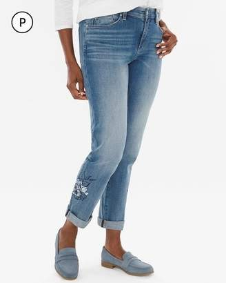 Chico's Chicos Petite Floral-Embroidered Boyfriend Ankle Jeans