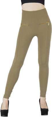 D&K Monarchy Women's Seamless Full Length Zipper Accented Leggings