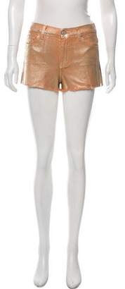 7 For All Mankind Metallic Mid-Rise Mini Shorts w/ Tags