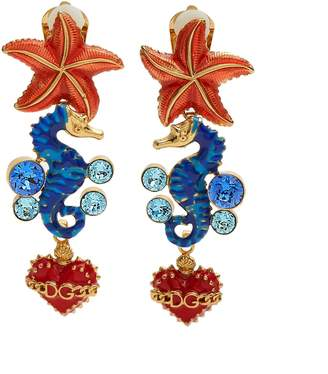 Seahorse and heart-drop clip on earrings