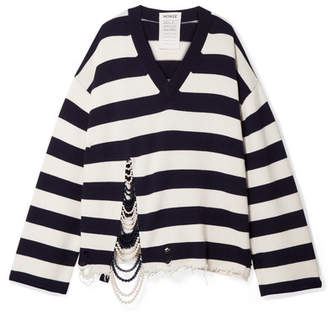 Monse Oversized Faux Pearl-embellished Striped Knitted Sweater - Navy