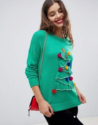 Brave Soul tree christmas sweater with pom poms
