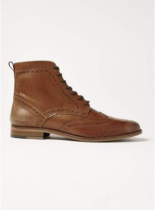 Topman Mens Brown Tan Leather Hale Brogue Boots